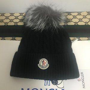 🆕Moncler💯 Black Knit Wool Cashmere Logo Beanie Hat